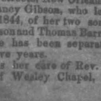 Nancy Gibson searching for her sons Frederick Gibson and Thomas Barrick