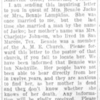 E. H. Lampkins searching for his former wife Mrs. Bennie Jacko (or Bennie Lampkins)