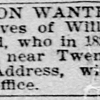 Unnamed, searching for descendants of William and Mary Smith