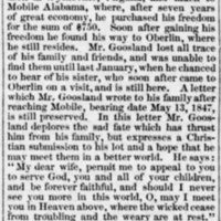 Mr. Goosland [Rev. Matthew Goosland], sold in 1847, finds his sister