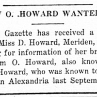 Miss D. Howard searching for her brother William O. Howard