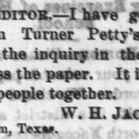 W. H. Jackson reconnected with Turner Petty's people