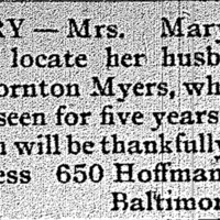 Mary Myers looking for her husband