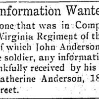 Catherine Anderson looking for information about John Anderson