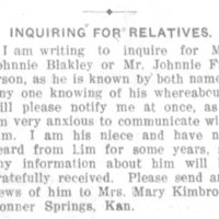 Mrs. Mary Kimbrow looking for her uncle Johnnie Blakley (who also goes by Johnnie Frierson)