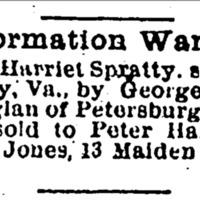 Rebecca Jones searching for Elizabeth Harriet Spratty and William Spratty