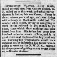 Kilby White searching for son Caesar