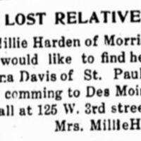 Mrs. Millie Harden looking for her sister Mrs. Anna Davis