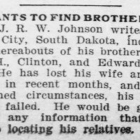 J.R.W. Johnson searching for his brothers