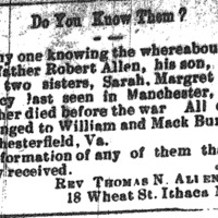Rev. Thomas N. Allen seeking information about his father Robert Allen, his sisters Sarah and Margaret, and his son Calvin
