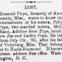 Emanuel Pope searching for his siblings Polly Pope, Milly Kane, Adeline Jane Pope, Joe Pope, and Larkin Pope