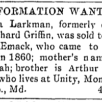 Arthur Larkman searching for his sister, Eliza Larkman