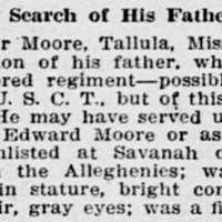 S. Tyler Moore searching for his father, Edward Moore or Edward Hunt (2nd of 5 ads placed)