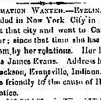 Henry Jackson searching for his niece Evelina Evans