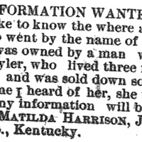 Matilda Harrison seeking the whereabouts of her mother Mary Jackson