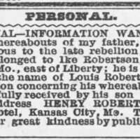 Henry Robertson searching for his father Louis Robertson