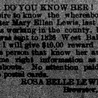 Rosa Belle Lewis seeking her sister Mary Ellen Lewis
