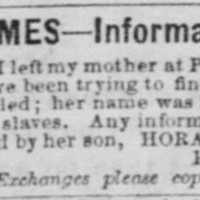 Horace Johnson looking for his mother