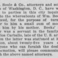 Washington, D. C. attorneys searching for Wm. Beeks in regards to a small inheritance
