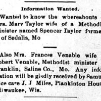 Samuel Rice, Milwaukee, WI, searching for wives of two MO Methodist ministers