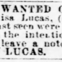 Henry Lucas searching for his wife Louisa Lucas and their three children