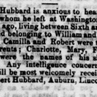 Robert Hubbard searching for parents Camilla and Robert and siblings Charlotte, Mary, Frank, and Charles