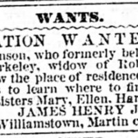 James Henry Johnson searching for his mother and sisters