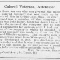 Georgiana Berry seeking the name of husband's Civil War company, for her Civil War widow's pension application