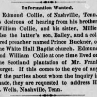 Edmund Collie is searching for his brother, sister, and nephew