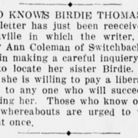 Mrs. Mary Ann Coleman searching for her sister Birdie Thomas