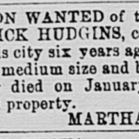 Martha Hudgins searching for Frederick Hudgins