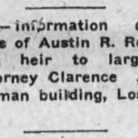 Clarence A. Jones, attorney, searching for Austin R. Roulhac