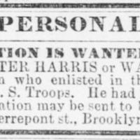 Harriet Jones searching for Walter Harris, also known as Walter Jones