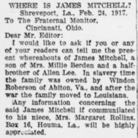 Mrs. Margaret Rollins searching for her uncle, James Mitchell