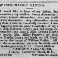 Sampson Alexander, of Victoria, Canada, searching for family