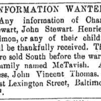 John Vincent Thomas searching for Stewart/Sidmon family