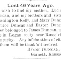 Hyson Duncan searching for his mother, brothers, and sisters