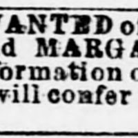 Kesiah Abell searching for her daughters, Frances Taylor and Margaret Abel [aka Margaret Abell] (2nd of 3 ads placed)