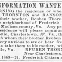 Reuben Thornton searching for his sister Amy Thornton and brother Ransom Thornton
