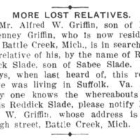 Alfred W. Griffin searching for Reddick Slade