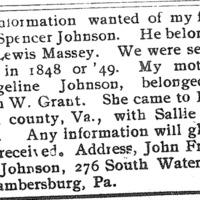 John Franklin Johnson seeking his father Spencer Johnson