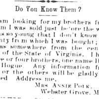 Mrs. Annie Polk searching for her brother Henry Hogue