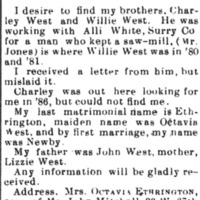 Octavia Ethrington (formerly Octavia West) searching for her brothers Charley West and Willie West
