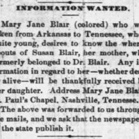 Mary Jane Blair searching for her mother Susan Blair