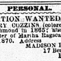 Madison Harris searching for Susan Cozzins, Henry Cozzins, and Lizzie Watson