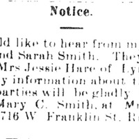 Mrs. Mary C. Smith searching for her sisters Emily and Sarah Smith