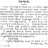 Sandy Sprattly seeking information of her mother Canddis Sprattly and sister Manervie Sprattly