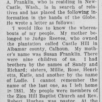 Rev. Samuel A. Franklin searching for his Franklin/Boves family