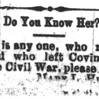 Mary L. Hunter searching for anyone who left Covington, VA before the Civil War