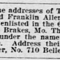 Sarah G. Carter searching for her sons Thomas C. Allen and Hubbard Franklin Allen